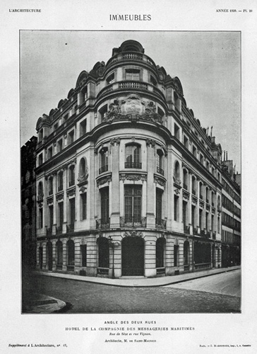 Photographie de la façade du bâtiment dans la revue L'Architecture (1920)
