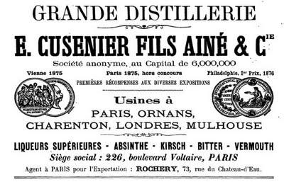 Publicité de l'entreprise Cusenier