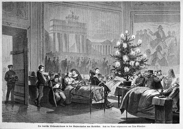 Arbre de Noël dans un hôpital allemand en 1871